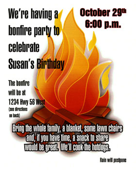 Bonfire Party Invitation Copy Cow Starkville Copy Shop
